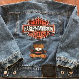 Kids Harley-Davidson Denim Coat Size 7 w/Stains